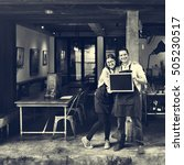 couple barista coffee shop... | Shutterstock . vector #505230517