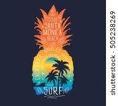 Surf pineapple illustration, typography, t-shirt graphics, vectors   Shutterstock vector #505238269