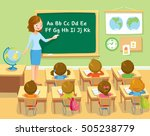 teacher and pupils in school... | Shutterstock .eps vector #505238779