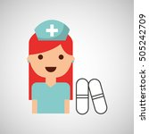 nurse charatcer with pill... | Shutterstock .eps vector #505242709