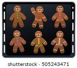 Gingerbread Man On Baking Plat...