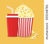 popcorn and drink. film strip... | Shutterstock .eps vector #505248781