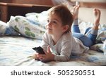 little boy lying on the bed and ... | Shutterstock . vector #505250551