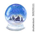 snow globe with peaceful scene. ... | Shutterstock . vector #505255111