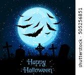 spooky dark blue halloween... | Shutterstock . vector #505256851