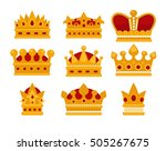 set of gold crown flat icons....