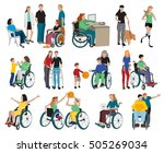 disabled people icons set with... | Shutterstock .eps vector #505269034