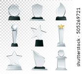 modern glass cup trophies and... | Shutterstock .eps vector #505269721