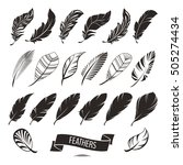 set of different feathers... | Shutterstock .eps vector #505274434