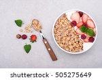 granola for breakfast with... | Shutterstock . vector #505275649