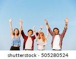 multiethnic group of happy... | Shutterstock . vector #505280524