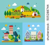 set of different landscapes in... | Shutterstock .eps vector #505288744