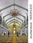Small photo of SINGAPORE - OCT 16, 2016: Inside of Sultan Mosque (also known as Masjid Sultan),Singapore and the Muslims worship of the Allah's kindness.