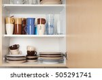 Stock photo kitchen cabinet or cupboard for dishes with copy space 505291741