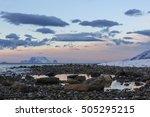 stony shoreline on ullsfjord...   Shutterstock . vector #505295215