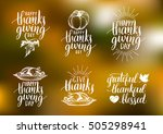 vector thanksgiving lettering... | Shutterstock .eps vector #505298941