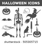 set halloween icons  sign and... | Shutterstock . vector #505305715