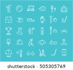 set line icons with open path... | Shutterstock . vector #505305769