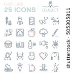 set  line icons in flat design... | Shutterstock . vector #505305811