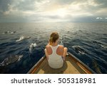 young woman sit on boat looking ... | Shutterstock . vector #505318981