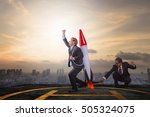 two business man playing rocket ... | Shutterstock . vector #505324075