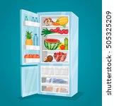 refrigerator full of food.... | Shutterstock .eps vector #505325209
