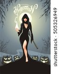 halloween greeting card. sexy... | Shutterstock .eps vector #505326949