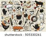 food corner sketch   Shutterstock .eps vector #505330261