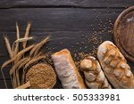 bread border on wood with copy... | Shutterstock . vector #505333981