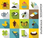 spring icons set. flat... | Shutterstock . vector #505349959