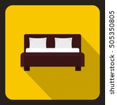 brown double bed icon. flat... | Shutterstock . vector #505350805