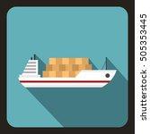 cargo ship icon. flat... | Shutterstock . vector #505353445