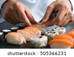 closeup of chef hands preparing ... | Shutterstock . vector #505366231