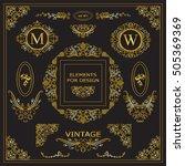 vector set of vintage elements... | Shutterstock .eps vector #505369369
