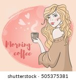cute girl holding mug  with... | Shutterstock .eps vector #505375381