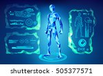 graphic of blue polygon man... | Shutterstock .eps vector #505377571