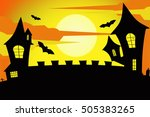 halloween night   horror castle ... | Shutterstock . vector #505383265