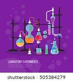 experiment chemistry glassware... | Shutterstock .eps vector #505384279