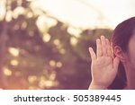 close up woman holds her hand... | Shutterstock . vector #505389445