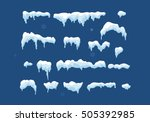 set of isolated snow cap. snowy ... | Shutterstock .eps vector #505392985