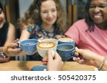 young woman drinking coffee... | Shutterstock . vector #505420375