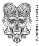 skull surreal mix pumpkin for...   Shutterstock . vector #505420621