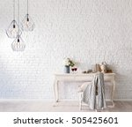 modern brick wall interior and... | Shutterstock . vector #505425601