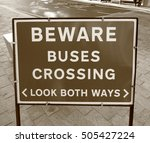 beware of buses warning sign | Shutterstock . vector #505427224