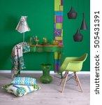 Green Wall Furniture Pillow...