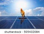man cleaning  solar power... | Shutterstock . vector #505432084