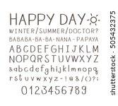 set of cute handwritten font... | Shutterstock .eps vector #505432375