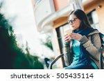 woman enjoying drinking coffee... | Shutterstock . vector #505435114