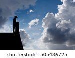 silhouette of disabled man with ... | Shutterstock . vector #505436725