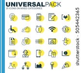 set of 25 universal editable... | Shutterstock .eps vector #505442365